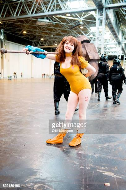 A cosplayer in character during the MCM Birmingham Comic Con at NEC Arena on March 19 2017 in Birmingham England