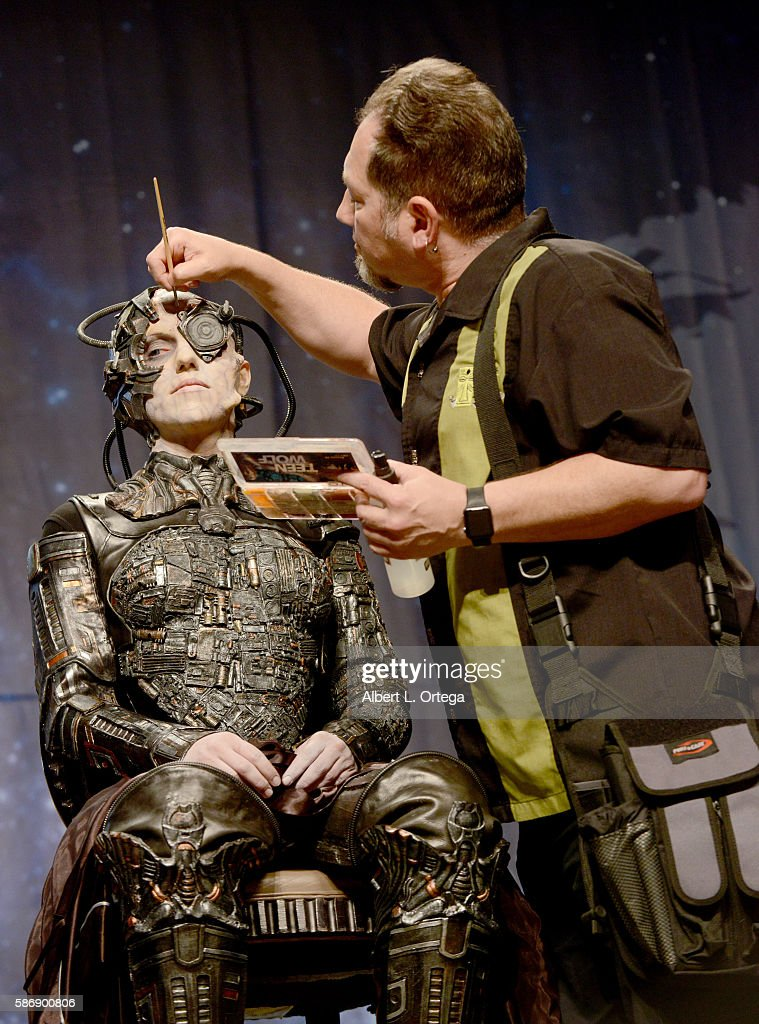 Cosplayer Jacqueline Goehner and makeup artist Kato DeStefan on day 4 of Creation Entertainment's Official Star Trek 50th Anniversary Convention at the Rio Hotel & Casino on August 6, 2016 in Las Vegas, Nevada.