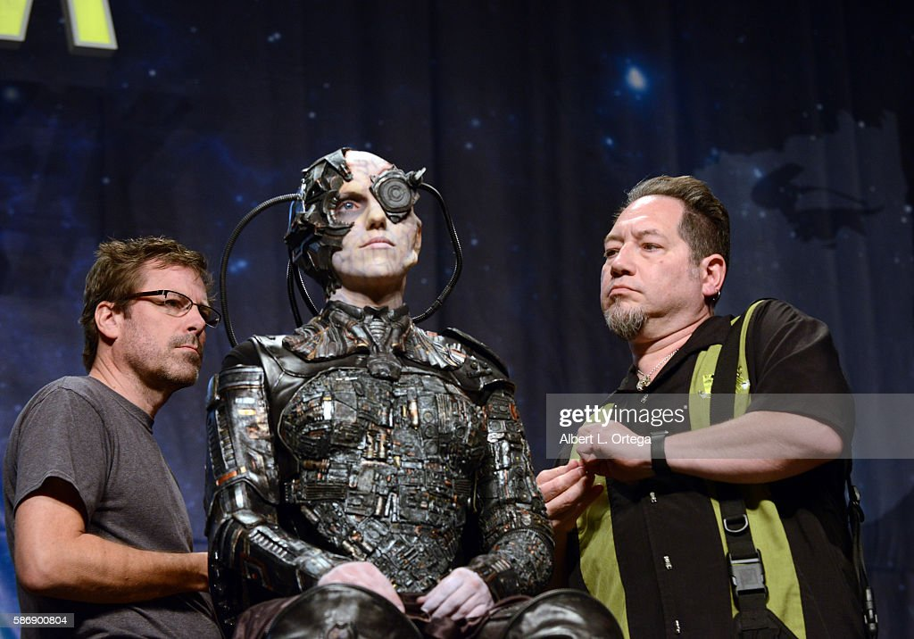 Cosplayer Jacqueline Goehner and makeup artists Kato DeStefan and Michael Westmore Jr. on day 4 of Creation Entertainment's Official Star Trek 50th Anniversary Convention at the Rio Hotel & Casino on August 6, 2016 in Las Vegas, Nevada.