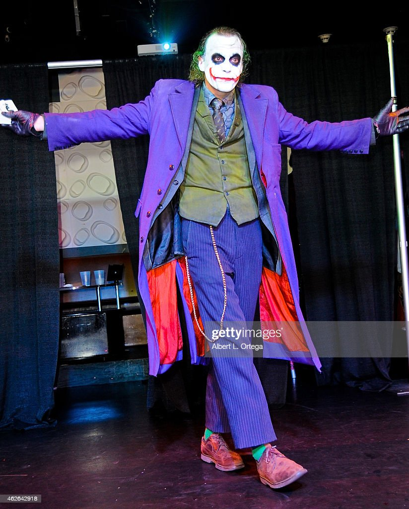 Cosplayer Jesse Oliva dressed as The Joker from 'The Dark Knight' at Club Cosplay LA held at OHM Nightclub on January 18, 2015 in Hollywood, California.