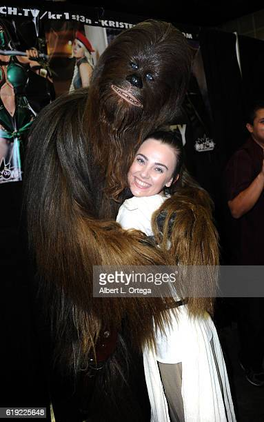 Cosplayer Megan Golden with Chewbacca on day 2 of Stan Lee's Los Angeles Comic Con 2016 held at Los Angeles Convention Center on October 29 2016 in...