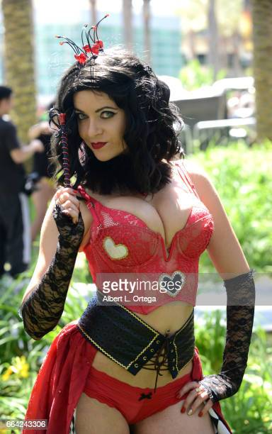 Cosplayer Megan Random as the Queen Of Hearts on Day 3 of WonderCon 2017 held at Anaheim Convention Center on April 2 2017 in Anaheim California