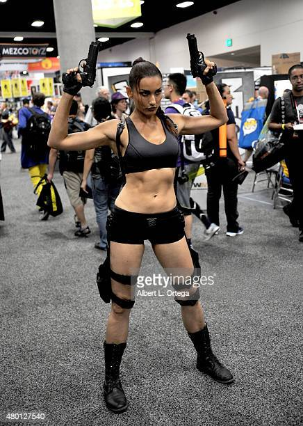 Cosplayer portrays Lara Croft during ComicCon International 2015 on July 8 2015 in San Diego California