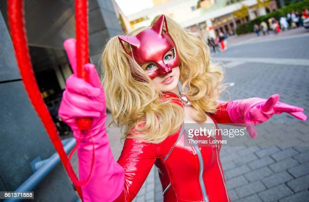 A cosplayer poses as 'Ann' of the game 'Persona 5' at the 2017 Frankfurt Book Fair on October 14 2017 in Frankfurt am Main Germany The 11th German...
