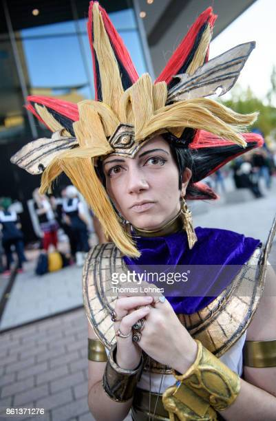 A cosplayer poses as 'Yugioh' at the 2017 Frankfurt Book Fair on October 14 2017 in Frankfurt am Main Germany The 11th German Cosplay Championship...