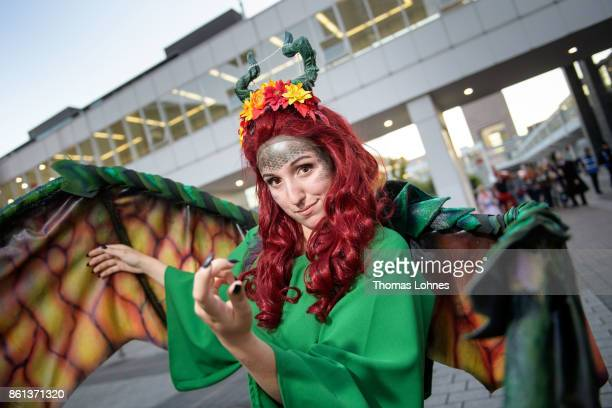 A cosplayer poses at the 2017 Frankfurt Book Fair on October 14 2017 in Frankfurt am Main Germany The 11th German Cosplay Championship take place at...
