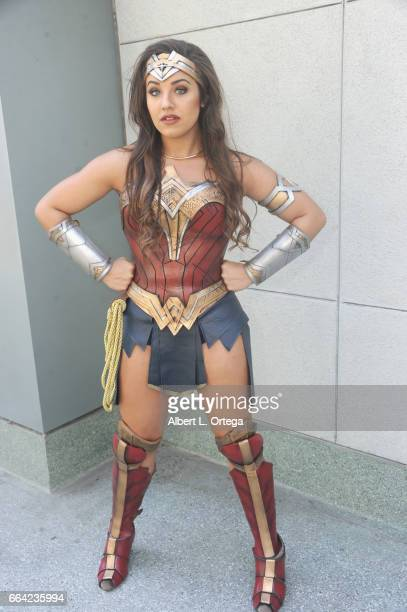 Cosplayer Rachel Litfin as Wonder Woman on Day 3 of WonderCon 2017 held at Anaheim Convention Center on April 2 2017 in Anaheim California