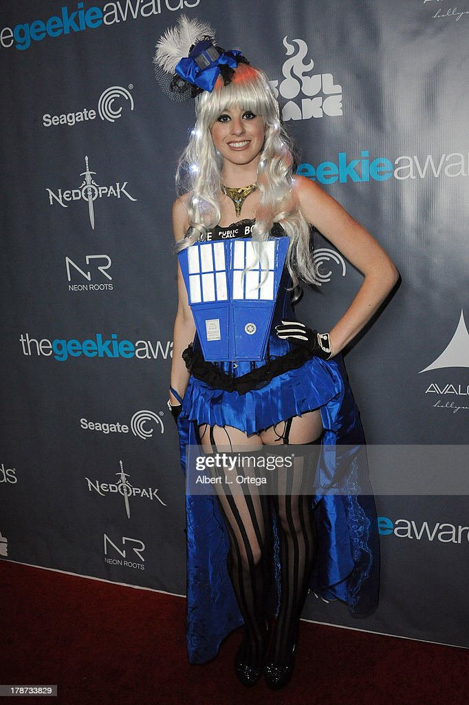 Cosplayer Sonja Wheeler dressed as The Tardis from Dr. Who attends The 1st Annual Geekie Awards held at Avalon on August 18, 2013 in Hollywood, California.