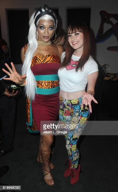 Cosplayers Alicia Marie and Megan Golden attend Stan Lee 95th Birthday House Party held at Private Residence on July 18 2017 in Los Angeles California