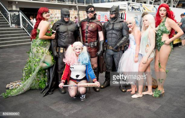 Cosplayers as Poison Ivy Batman Harley Quinn Robin Batman Harley Quinn Harley Quinn and Poison Ivy as seen during Day one of the London Super Comic...