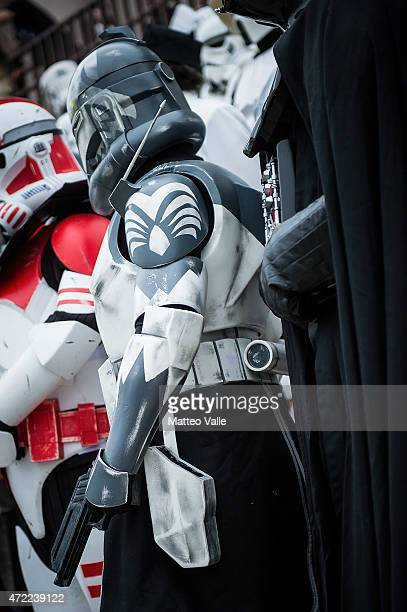 Cosplayers attend the Star Wars Day on May 3 2015 in Milan Italy
