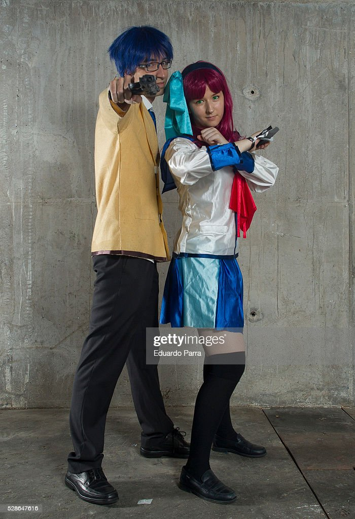 Cosplayers @Cray_ai (R) and @Michael_denver13 characterized as the Yuri Nakamura and Takamatsu characters of the tv series Angel Beats attends the fair Expomanga at IFEMA on May 06, 2016 in Madrid, Spain .