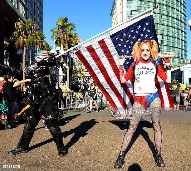 Cosplayers Dallas and Harley Quinn attend ComicCon International on July 22 2016 in San Diego California