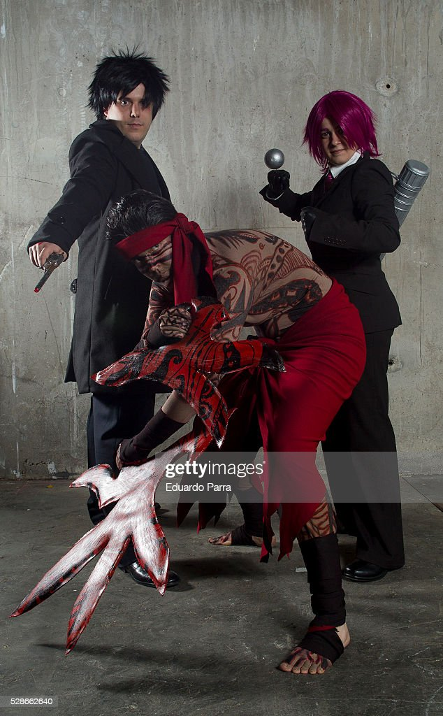 Cosplayers David Sanchez, Vicky Kiwi and Esther Izquierdo characterized as the Kiritsugu Emiya, Angra Manyiu and Bazzet Fraga characters of the novel Fate/Zero, attends the fair Expomanga at IFEMA on May 06, 2016 in Madrid, Spain.