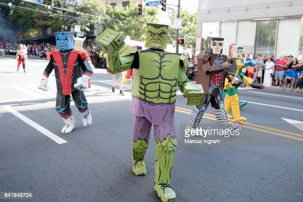 Cosplayers dressed as Boxed Heros attend the 2017 DragonCon Parade on September 2 2017 in Atlanta Georgia DragonCon is a multimedia convention held...