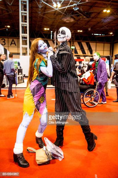 Cosplayers dressed as Corpse Bride and Jack Skelleton from The Nightmare Before Christmas during the MCM Birmingham Comic Con at NEC Arena on March...