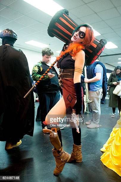 Cosplayers dressed as Harley Quinn during day 1 of the November Birmingham MCM Comic Con at the National Exhibition Centre in Birmingham UK on...