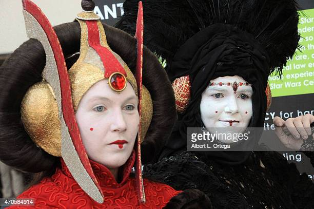 Cosplayers dressed as Queen Amidala ont Day One of Disney's 2015 Star Wars Celebration held at the Anaheim Convention Center on April 16 2015 in...