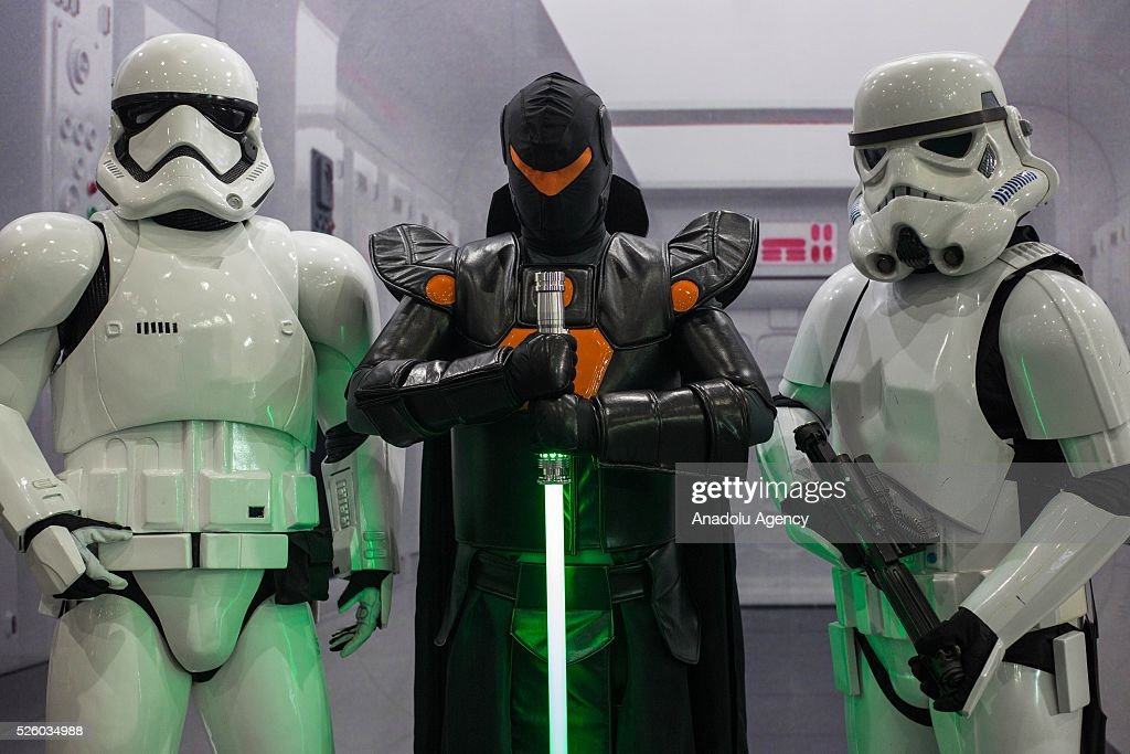 Cosplayers dressed as Star Wars characters pose for a picture during the Bangkok Comic Con 2016 Festival at Bitec Exhibition Centre in Bangkok, Thailand on April 29, 2016. 'Cosplay' imitates characters from comics, video games, anime series and science fiction movies, mostly coming from the Japanese pop culture. Bangkok Comic Con is one of the biggest Pop Culture exhibition in Asia starts from 29 April until 1 May 2016. The event hopes to turn Thailand into a major center for international filmmakers and animators come to create their masterpieces. Comic Con is an internationally renowned event in the world of animation as it started in 1970 in San Diego.