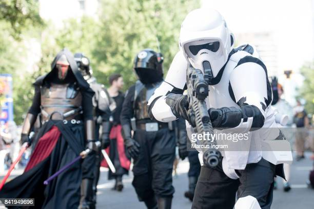 Cosplayers dressed in their favorite characters attend the 2017 DragonCon Parade on September 2 2017 in Atlanta Georgia DragonCon is a multimedia...