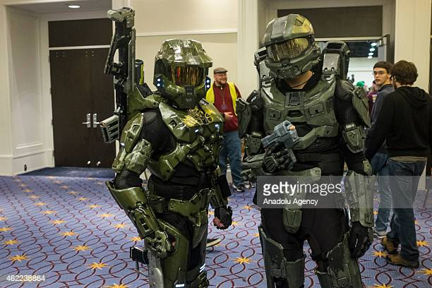 Cosplayers dressed up as Master Chief from the Halo franchise at MAGfest 13 in National Harbour Md on January 24 2015 MAGfest is an annual convention...