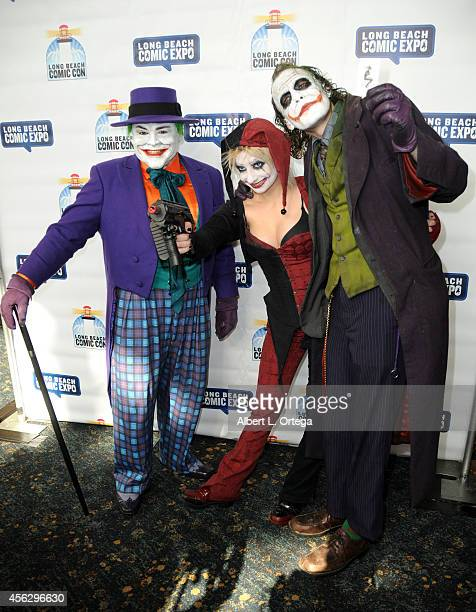 Cosplayer's Jack Nicholsons' Joker and Heath Ledger's Joker with Harley Quinn at The Long Beach Comic Con held at the Long Beach Convention Center on...