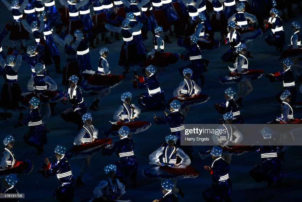 Cossack dancers perform during the finale of the Closing Ceremony of the 2014 Paralympic Winter Games at Fisht Olympic Stadium on March 16, 2014 in Sochi, Russia.