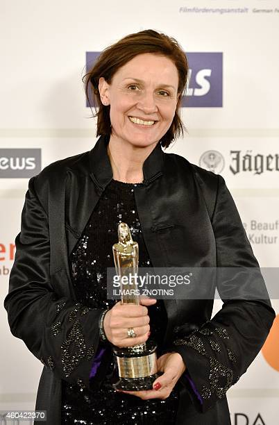 Cosstume designer Natascha CurtiusNoss poses with her award at the 27th European Film Awards ceremony on December 13 2014 in Riga Every year the...