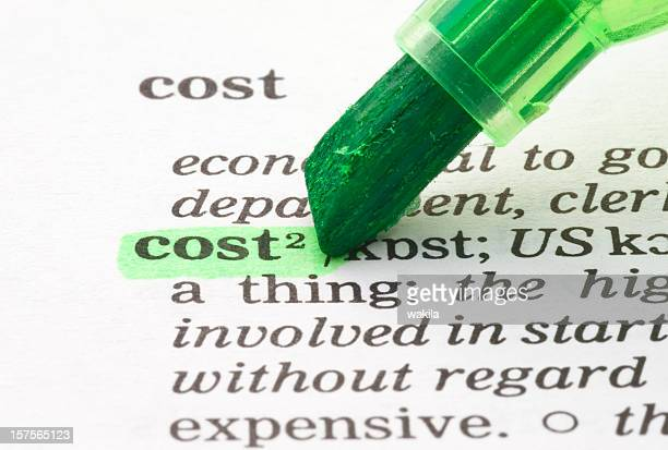 cost definition highlighted in dictionary