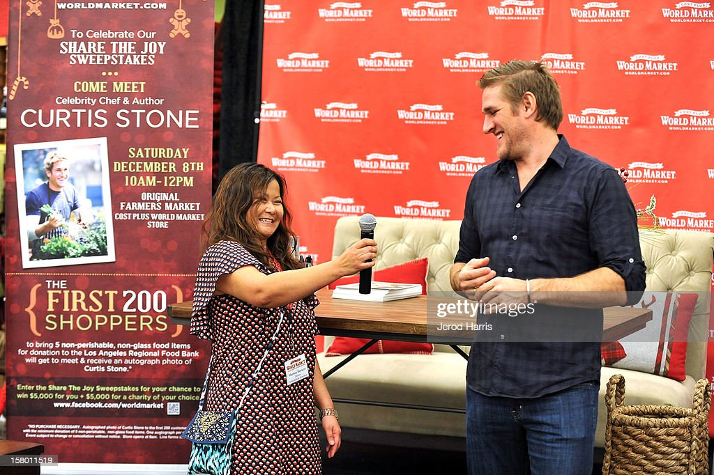 Cost Plus World Market Director of Promotions Marissa Durazzo introduces Chef Curtis Stone at Cost Plus World Market's Share the Joy event at Cost Plus World Market on December 8, 2012 in Los Angeles, United States.