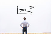 decrease cost and increase value business concept, businessman analyzing graph