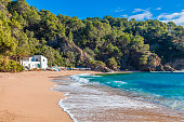 Costa Brava, Spain. Beach of Cala Canyelles between Lloret and Tossa.