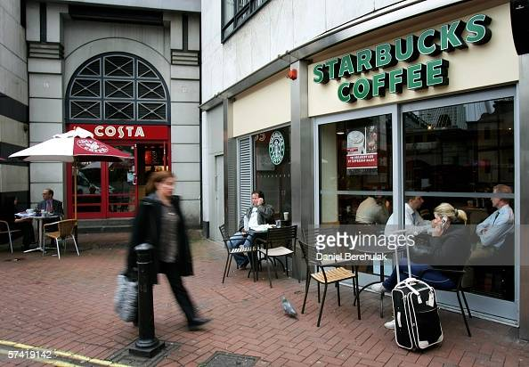 Costa Coffee store is seen next to a Starbucks Coffee store in central London on April 25 2006 in London England The all traditional English style...