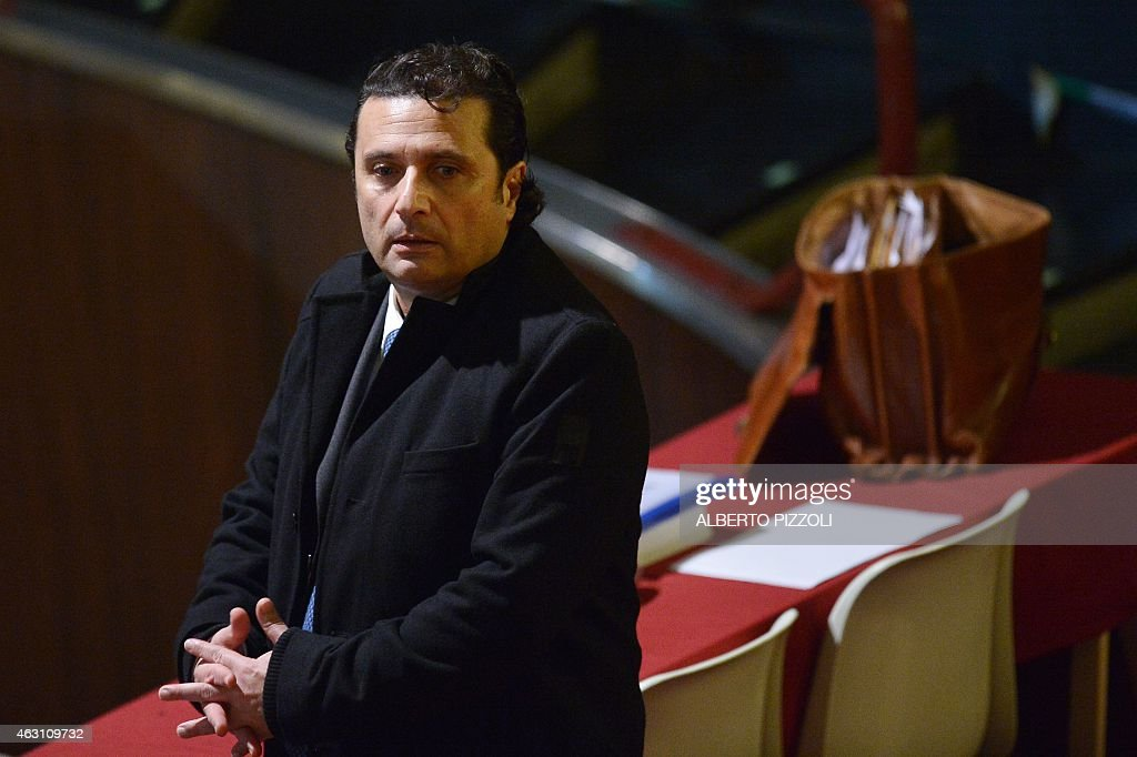 Costa Concordia's captain <a gi-track='captionPersonalityLinkClicked' href=/galleries/search?phrase=Francesco+Schettino&family=editorial&specificpeople=8797246 ng-click='$event.stopPropagation()'>Francesco Schettino</a> arrives for his trial on February 10, 2015 in Grosseto. An Italian court is expected to announce a verdict this week in the case against <a gi-track='captionPersonalityLinkClicked' href=/galleries/search?phrase=Francesco+Schettino&family=editorial&specificpeople=8797246 ng-click='$event.stopPropagation()'>Francesco Schettino</a>, the captain of the Costa Concordia cruise ship that capsized in 2012, killing 32 people. Schettino, 54, is charged with multiple manslaughter and causing a shipwreck. He is also accused of abandoning ship ahead of his passengers. AFP PHOTO / ALBERTO PIZZOLI