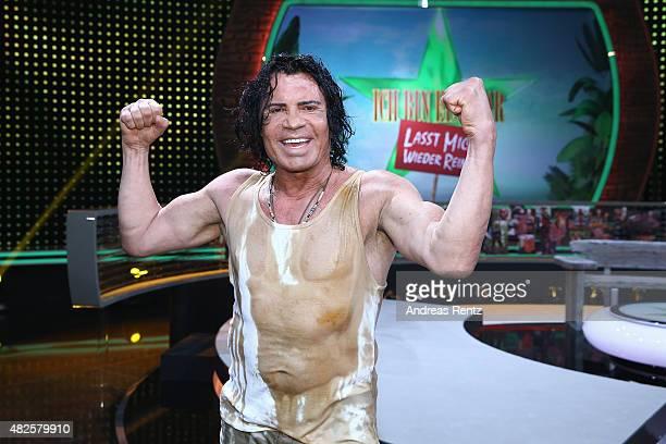 Costa Cordalis celebrates after winning the 1st live show of the television show 'Ich bin ein Star lasst mich wieder rein' on July 31 2015 in Huerth...