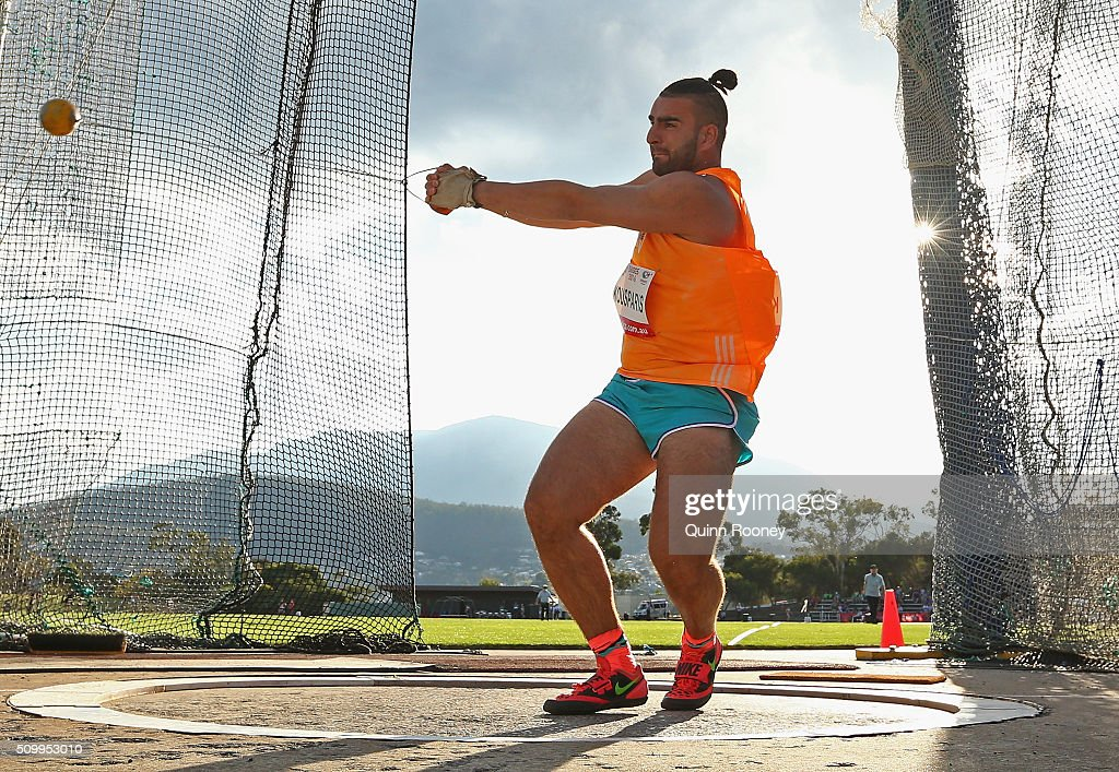 Costa Kousparis of New South Wales competes in the Men's Hammer Throw during the Briggs Athletics Classic on February 13, 2016 in Hobart, Australia.
