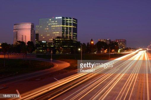 Costa Mesa and the 405 freeway at dusk