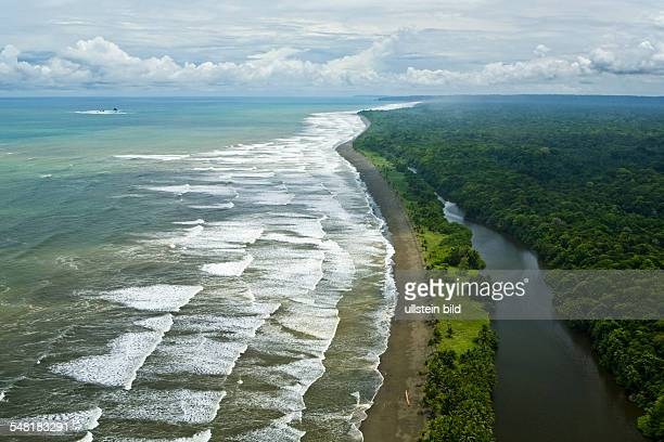 Costa Rica Aerial view of the pacific coast line of Corcovado National Park on Osa peninsula