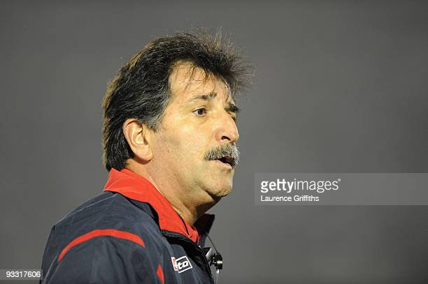 Costa Rica Coach Rene Simoes looks on duing the 2010 FIFA World Cup Play Off Second Leg Match between Uruguay and Costa Rica at The Estadio...
