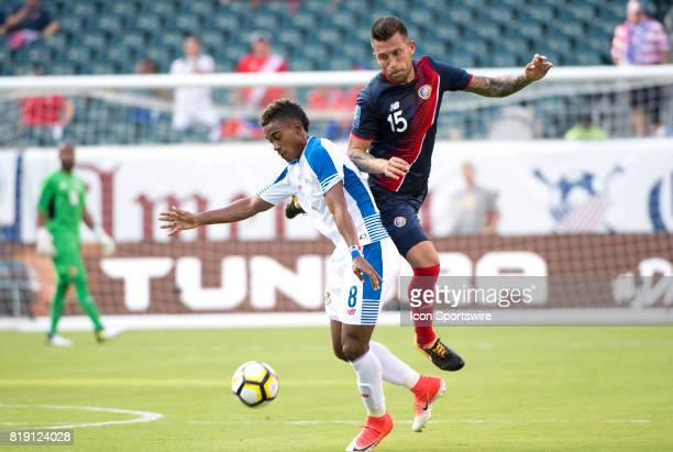 Costa Rica Defender Francisco Calvo and Panama Midfielder Edgar Barcenas fight for the ball in the first half during the CONCACAF Gold Cup...