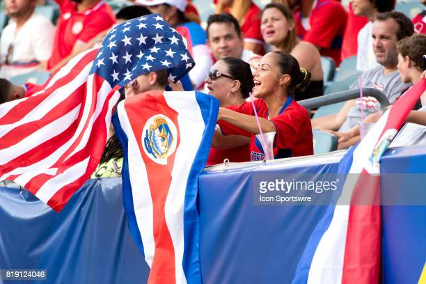Costa Rica fan cheers on her team in the first half during the CONCACAF Gold Cup Quarterfinal game between Costa Rica and Panama on July 19 2017 at...
