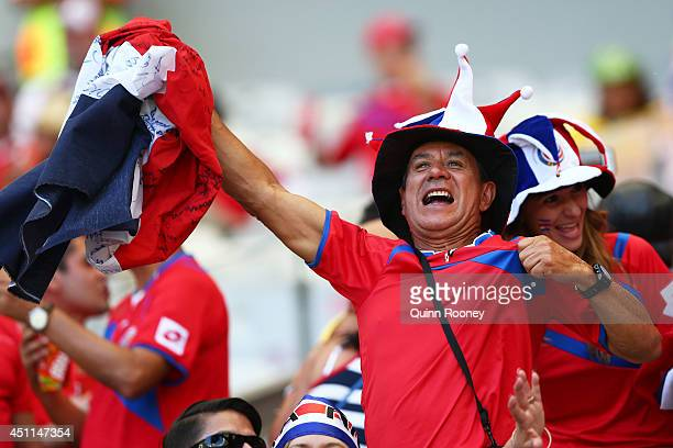 Costa Rica fan enjoys the atmosphere prior to the 2014 FIFA World Cup Brazil Group D match between Costa Rica and England at Estadio Mineirao on June...