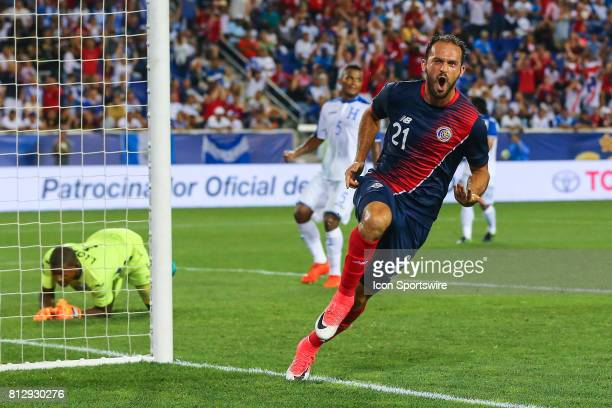 Costa Rica forward Marco Urena celebrates after scoring during the first half of the CONCACAF Gold Cup Group A Game between Costa Rica and Honduras...