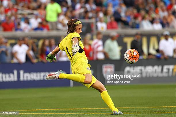 Costa Rica goalkeeper Dinnia Diaz clears the ball during the first half of the International Friendly match between the United States Women's...