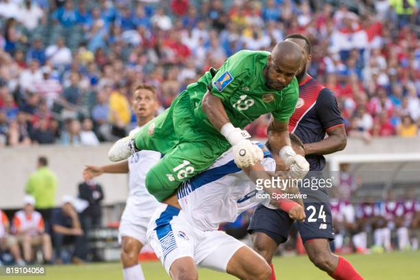 Costa Rica Keeper Patrick Pemberton collides with Panama Forward Gabriel Torres in the second half during the CONCACAF Gold Cup Quarterfinal game...