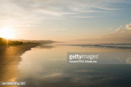 Costa Rica, Playa Matapalo, sunrise on tropical beach : Stock Photo