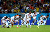 Costa Rica players celebrate the win after a penalty shootout during the 2014 FIFA World Cup Brazil Round of 16 match between Costa Rica and Greece...