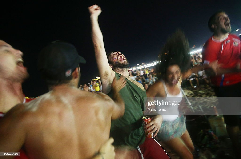 Costa Rica supporters celebrate before their shootout win over Greece while watching the FIFA Fan Fest live broadcast on Copacabana Beach on June June 29, 2014 in Rio de Janeiro, Brazil. Costa Rica won the dramatic match despite playing with only ten men for part of the second half.