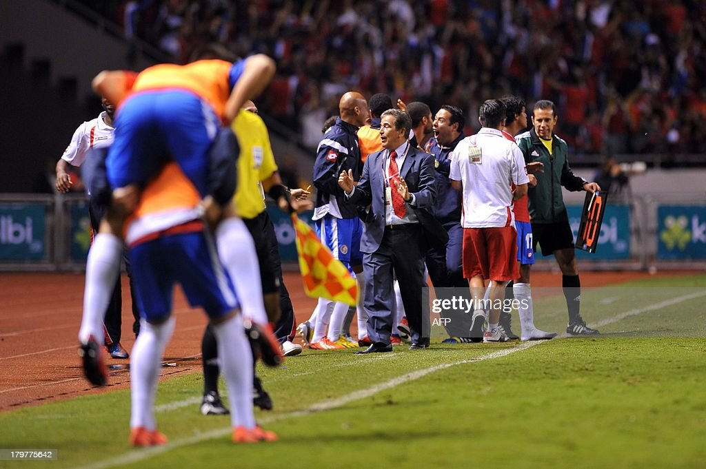 Costa Rican coach <a gi-track='captionPersonalityLinkClicked' href=/galleries/search?phrase=Jorge+Luis+Pinto&family=editorial&specificpeople=2548389 ng-click='$event.stopPropagation()'>Jorge Luis Pinto</a> reacts after Joel Campbell scored against the USA during their FIFA World Cup Brazil 2014, CONCACAF qualifier football match, at the National Stadium in San Jose, Costa Rica, on September 6, 2013. AFP PHOTO/Hector RETAMAL