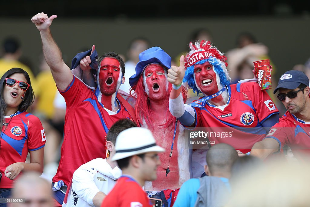 Costa Rican fans celebrate winning their group during the 2014 FIFA World Cup Brazil Group D match between Costa Rica and England at Estadio Mineirao on June 24, 2014 in Belo Horizonte, Brazil.